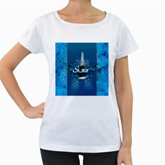 Surf, Surfboard With Water Drops On Blue Background Women s Loose Fit T Shirt (white)