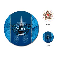Surf, Surfboard With Water Drops On Blue Background Playing Cards (Round)