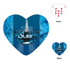 Surf, Surfboard With Water Drops On Blue Background Playing Cards (heart)