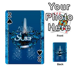 Surf, Surfboard With Water Drops On Blue Background Playing Cards 54 Designs