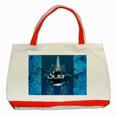 Surf, Surfboard With Water Drops On Blue Background Classic Tote Bag (Red)