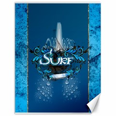 Surf, Surfboard With Water Drops On Blue Background Canvas 18  x 24
