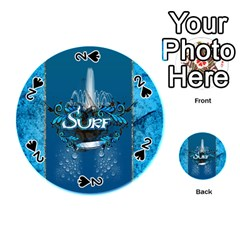 Surf, Surfboard With Water Drops On Blue Background Playing Cards 54 (round)