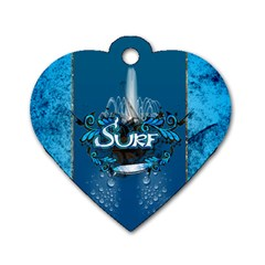 Surf, Surfboard With Water Drops On Blue Background Dog Tag Heart (One Side)