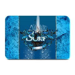 Surf, Surfboard With Water Drops On Blue Background Plate Mats