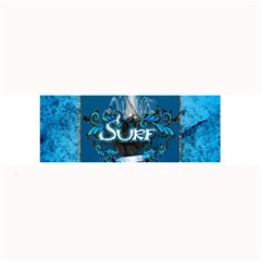 Surf, Surfboard With Water Drops On Blue Background Large Bar Mats