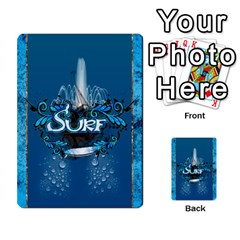 Surf, Surfboard With Water Drops On Blue Background Multi-purpose Cards (Rectangle)
