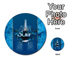 Surf, Surfboard With Water Drops On Blue Background Multi Purpose Cards (round)