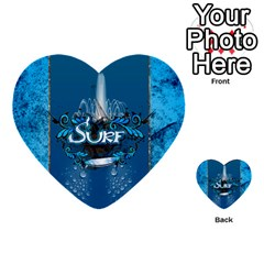 Surf, Surfboard With Water Drops On Blue Background Multi-purpose Cards (Heart)