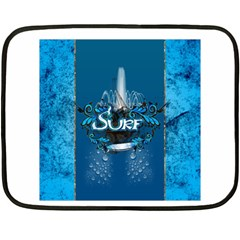 Surf, Surfboard With Water Drops On Blue Background Fleece Blanket (mini)