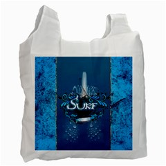 Surf, Surfboard With Water Drops On Blue Background Recycle Bag (One Side)