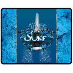 Surf, Surfboard With Water Drops On Blue Background Fleece Blanket (medium)