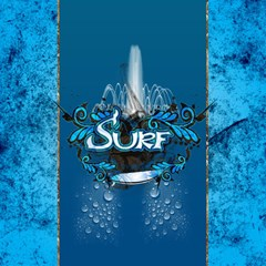 Surf, Surfboard With Water Drops On Blue Background Magic Photo Cubes