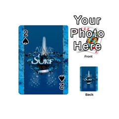 Surf, Surfboard With Water Drops On Blue Background Playing Cards 54 (mini)