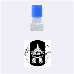 Surf, Surfboard With Water Drops On Blue Background Rubber Round Stamps (Small)