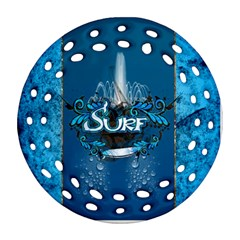 Surf, Surfboard With Water Drops On Blue Background Round Filigree Ornament (2side)