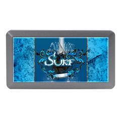 Surf, Surfboard With Water Drops On Blue Background Memory Card Reader (mini)