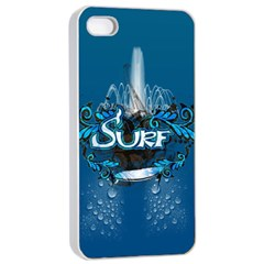 Surf, Surfboard With Water Drops On Blue Background Apple iPhone 4/4s Seamless Case (White)