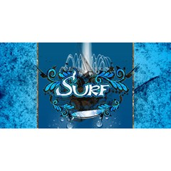 Surf, Surfboard With Water Drops On Blue Background YOU ARE INVITED 3D Greeting Card (8x4)