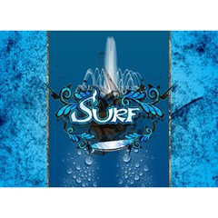 Surf, Surfboard With Water Drops On Blue Background Birthday Cake 3D Greeting Card (7x5)