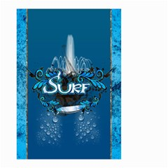 Surf, Surfboard With Water Drops On Blue Background Small Garden Flag (two Sides)