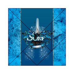 Surf, Surfboard With Water Drops On Blue Background Acrylic Tangram Puzzle (6  X 6 )