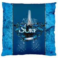 Surf, Surfboard With Water Drops On Blue Background Large Cushion Cases (One Side)