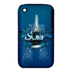 Surf, Surfboard With Water Drops On Blue Background Apple iPhone 3G/3GS Hardshell Case (PC+Silicone)