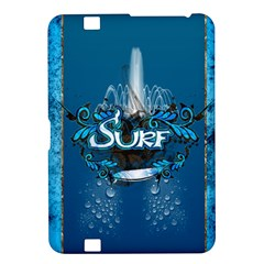Surf, Surfboard With Water Drops On Blue Background Kindle Fire HD 8.9