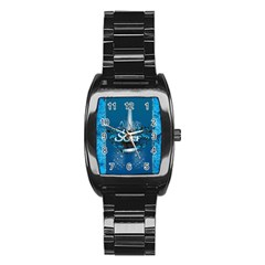 Surf, Surfboard With Water Drops On Blue Background Stainless Steel Barrel Watch
