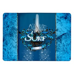 Surf, Surfboard With Water Drops On Blue Background Samsung Galaxy Tab 10.1  P7500 Flip Case