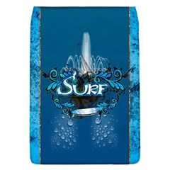 Surf, Surfboard With Water Drops On Blue Background Flap Covers (L)