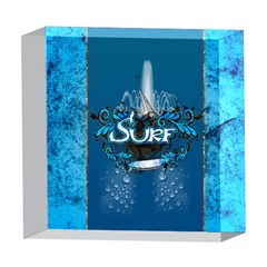 Surf, Surfboard With Water Drops On Blue Background 5  x 5  Acrylic Photo Blocks