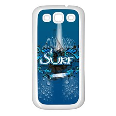 Surf, Surfboard With Water Drops On Blue Background Samsung Galaxy S3 Back Case (White)