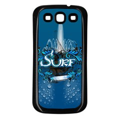 Surf, Surfboard With Water Drops On Blue Background Samsung Galaxy S3 Back Case (Black)