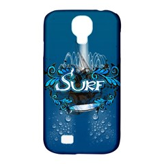 Surf, Surfboard With Water Drops On Blue Background Samsung Galaxy S4 Classic Hardshell Case (PC+Silicone)