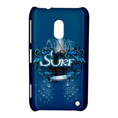 Surf, Surfboard With Water Drops On Blue Background Nokia Lumia 620