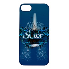 Surf, Surfboard With Water Drops On Blue Background Apple iPhone 5S Hardshell Case
