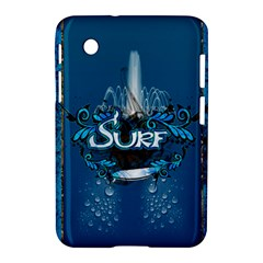 Surf, Surfboard With Water Drops On Blue Background Samsung Galaxy Tab 2 (7 ) P3100 Hardshell Case