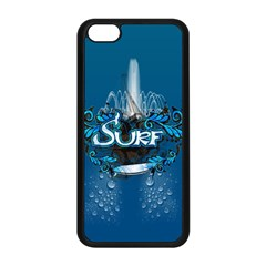 Surf, Surfboard With Water Drops On Blue Background Apple Iphone 5c Seamless Case (black)