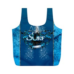 Surf, Surfboard With Water Drops On Blue Background Full Print Recycle Bags (M)