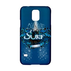Surf, Surfboard With Water Drops On Blue Background Samsung Galaxy S5 Hardshell Case