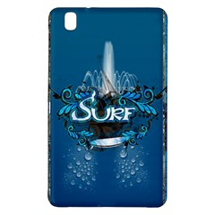 Surf, Surfboard With Water Drops On Blue Background Samsung Galaxy Tab Pro 8 4 Hardshell Case