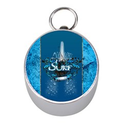 Surf, Surfboard With Water Drops On Blue Background Mini Silver Compasses