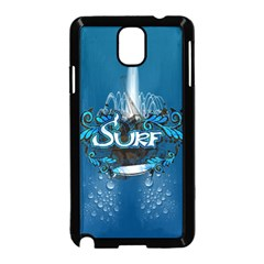 Surf, Surfboard With Water Drops On Blue Background Samsung Galaxy Note 3 Neo Hardshell Case (Black)