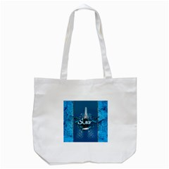 Surf, Surfboard With Water Drops On Blue Background Tote Bag (white)