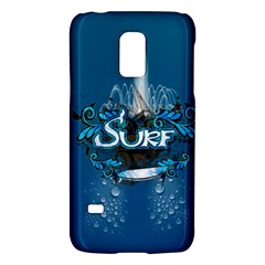 Surf, Surfboard With Water Drops On Blue Background Galaxy S5 Mini