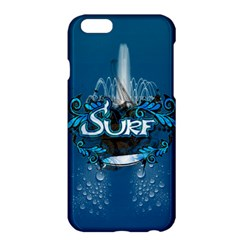 Surf, Surfboard With Water Drops On Blue Background Apple iPhone 6 Plus/6S Plus Hardshell Case