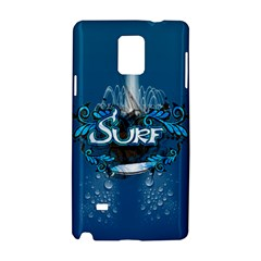 Surf, Surfboard With Water Drops On Blue Background Samsung Galaxy Note 4 Hardshell Case