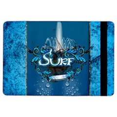 Surf, Surfboard With Water Drops On Blue Background iPad Air 2 Flip